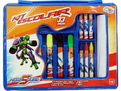 10933 Kit escolar hero squad de 33 peças 18 x 23.5 x 2.5cm
